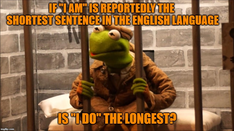 "Kermit in jail |  IF ""I AM"" IS REPORTEDLY THE SHORTEST SENTENCE IN THE ENGLISH LANGUAGE; IS ""I DO"" THE LONGEST? 
