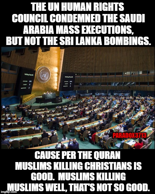 This is what happens when you surrender the UN to Islamist. |  THE UN HUMAN RIGHTS COUNCIL CONDEMNED THE SAUDI ARABIA MASS EXECUTIONS, BUT NOT THE SRI LANKA BOMBINGS. PARADOX3713; CAUSE PER THE QURAN MUSLIMS KILLING CHRISTIANS IS GOOD.  MUSLIMS KILLING MUSLIMS WELL, THAT'S NOT SO GOOD. | image tagged in memes,islam,muslim,terrorism,hate crime,christians | made w/ Imgflip meme maker