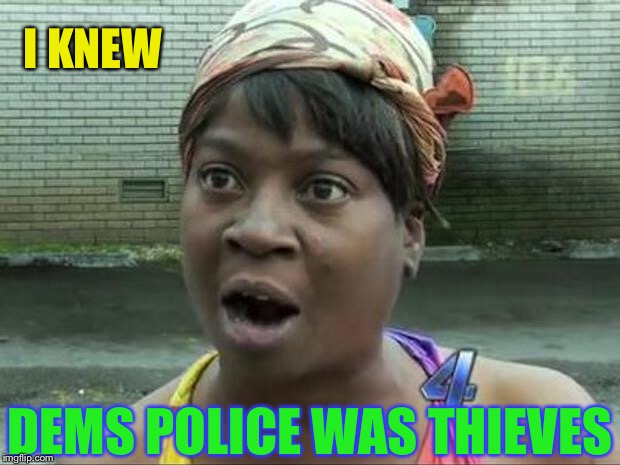 Ain't Nobody Got Time for That | I KNEW DEMS POLICE WAS THIEVES | image tagged in ain't nobody got time for that | made w/ Imgflip meme maker