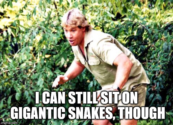 Crocodile Hunter Steve Irwin | I CAN STILL SIT ON GIGANTIC SNAKES, THOUGH | image tagged in crocodile hunter steve irwin | made w/ Imgflip meme maker