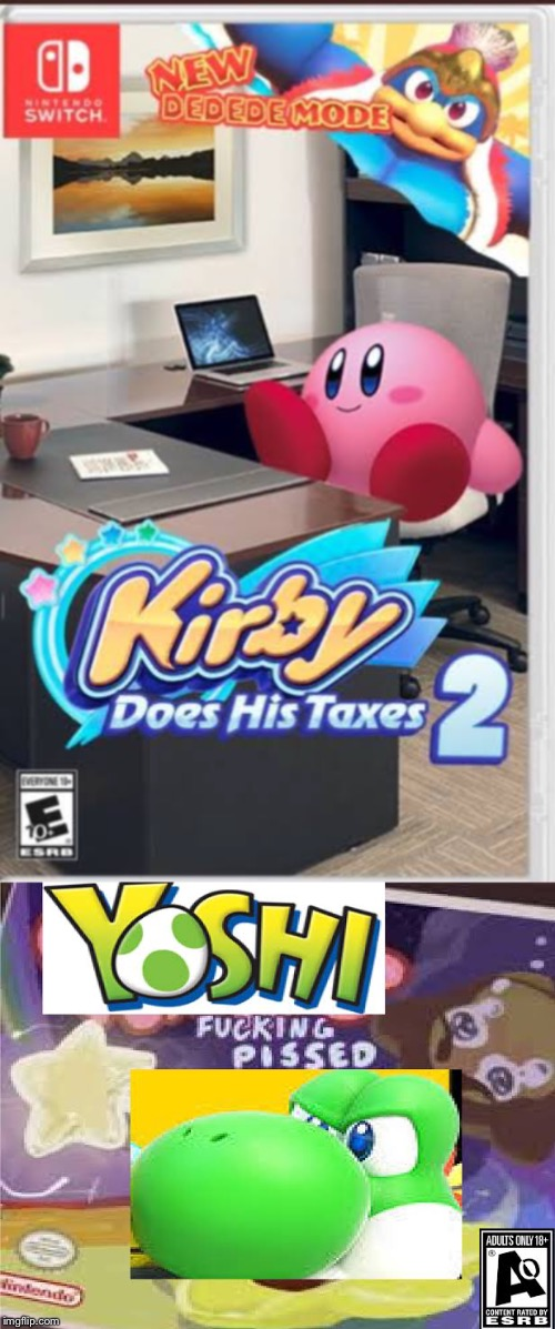 Finally, Kirby is being a good boy! | image tagged in kirby,taxes,yoshi,video games | made w/ Imgflip meme maker
