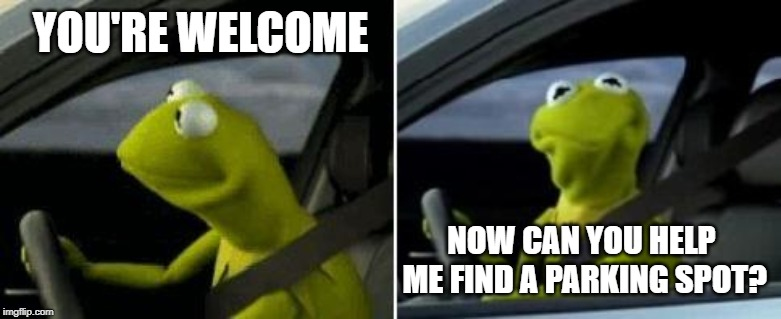 YOU'RE WELCOME NOW CAN YOU HELP ME FIND A PARKING SPOT? | image tagged in kermit driver | made w/ Imgflip meme maker