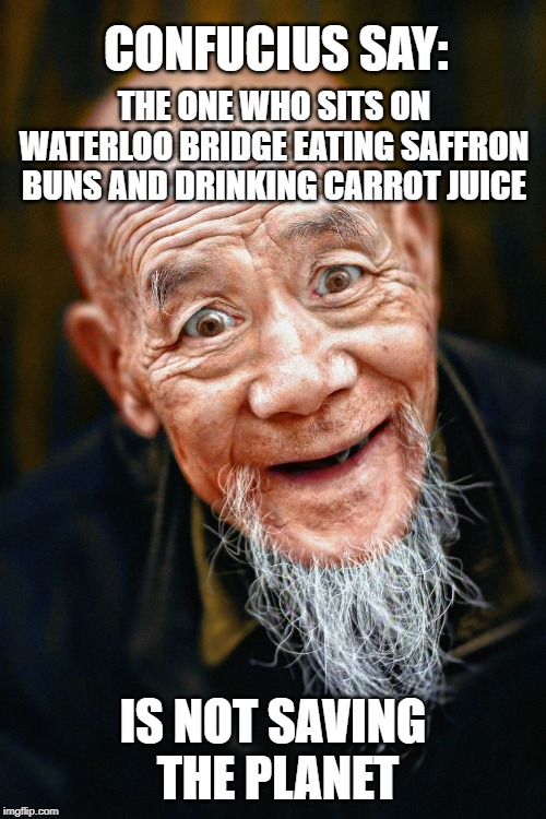 Confucius say: beatniks suck | CONFUCIUS SAY: IS NOT SAVING THE PLANET THE ONE WHO SITS ON WATERLOO BRIDGE EATING SAFFRON BUNS AND DRINKING CARROT JUICE | image tagged in confuscius say,environmental,activism,save the earth | made w/ Imgflip meme maker