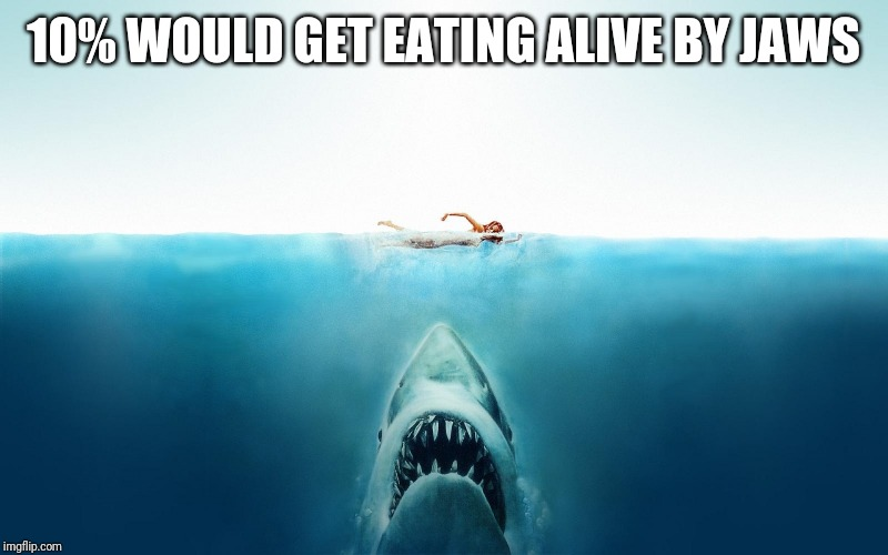 Jaws | 10% WOULD GET EATING ALIVE BY JAWS | image tagged in jaws | made w/ Imgflip meme maker