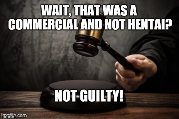Court | WAIT, THAT WAS A COMMERCIAL AND NOT HENTAI? NOT GUILTY! | image tagged in court | made w/ Imgflip meme maker