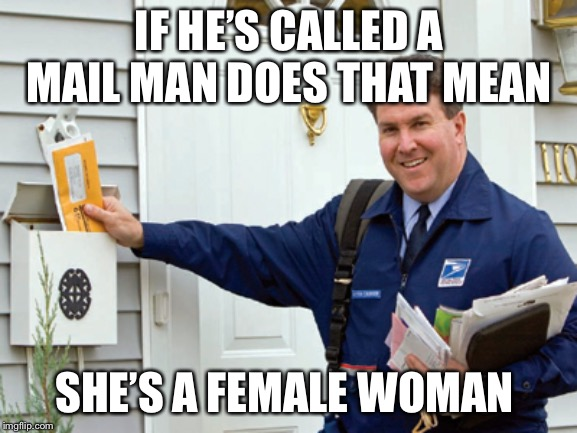 Mail | IF HE'S CALLED A MAIL MAN DOES THAT MEAN SHE'S A FEMALE WOMAN | image tagged in female,male,mail | made w/ Imgflip meme maker