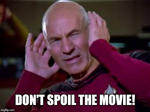 Captain Picard Covering Ears | DON'T SPOIL THE MOVIE! | image tagged in captain picard covering ears | made w/ Imgflip meme maker