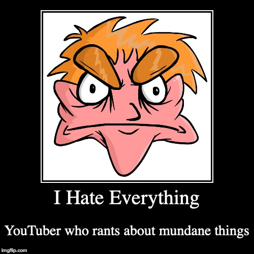 I Hate Everything | I Hate Everything | YouTuber who rants about mundane things | image tagged in demotivationals,i hate everything,youtuber,youtube | made w/ Imgflip demotivational maker