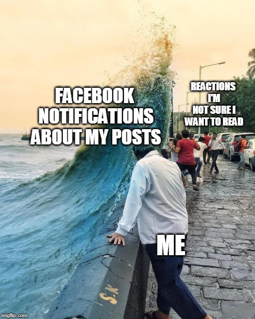 Facebook notifications WAVE, watching and not sure about reactions | FACEBOOK NOTIFICATIONS ABOUT MY POSTS ME REACTIONS I'M NOT SURE I WANT TO READ | image tagged in watching wave,reactions,facebook | made w/ Imgflip meme maker