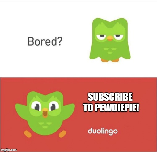 DUOLINGO BORED | SUBSCRIBE TO PEWDIEPIE! | image tagged in duolingo bored | made w/ Imgflip meme maker