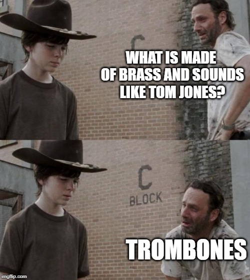 Rick and Carl | WHAT IS MADE OF BRASS AND SOUNDS LIKE TOM JONES? TROMBONES | image tagged in memes,rick and carl | made w/ Imgflip meme maker