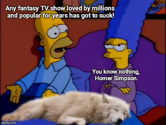 Homer hates Game of Thrones | Any fantasy TV show loved by millions and popular for years has got to suck! You know nothing, Homer Simpson. | image tagged in game of thrones,the simpsons,dire wolf,john snow,humor | made w/ Imgflip meme maker