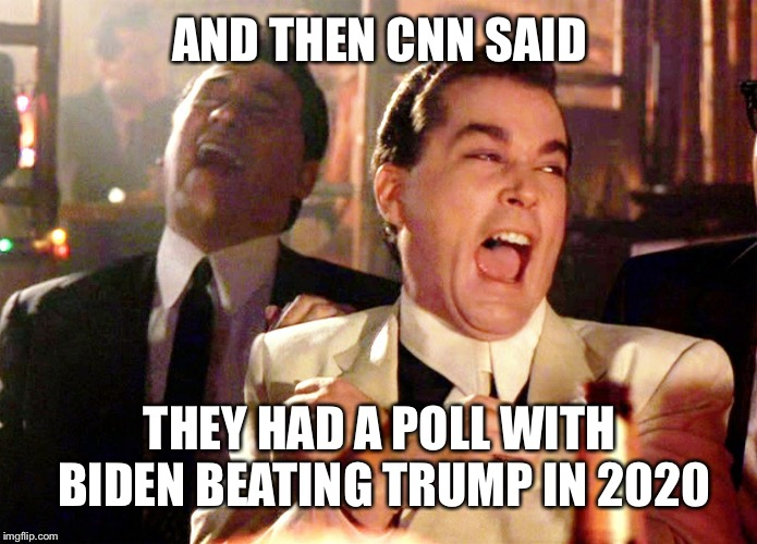 Good Fellas Hilarious | AND THEN CNN SAID THEY HAD A POLL WITH BIDEN BEATING TRUMP IN 2020 | image tagged in memes,good fellas hilarious,maga,donald trump,joe biden | made w/ Imgflip meme maker