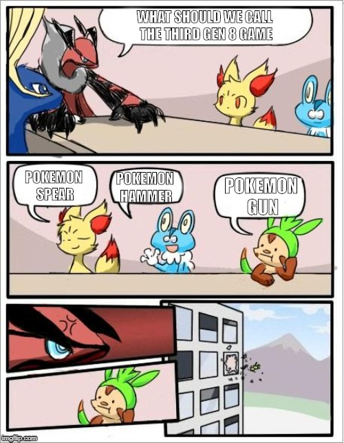 Most likely are gen 4 remakes | WHAT SHOULD WE CALL THE THIRD GEN 8 GAME POKEMON SPEAR POKEMON HAMMER POKEMON GUN | image tagged in pokemon board meeting,pokemon | made w/ Imgflip meme maker