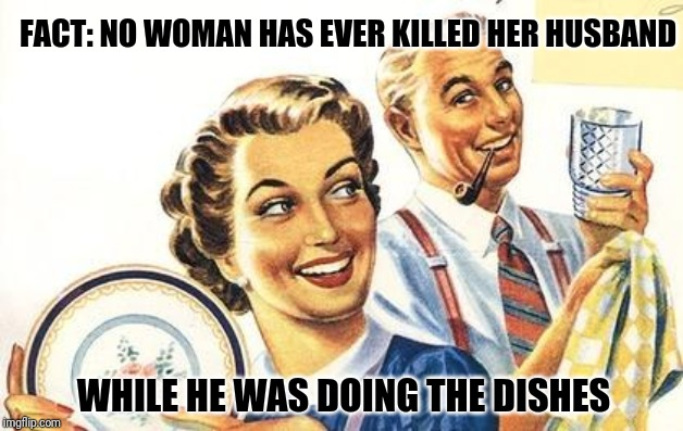 Go ahead! Look it up |  FACT: NO WOMAN HAS EVER KILLED HER HUSBAND; WHILE HE WAS DOING THE DISHES | image tagged in thoroughly modern marriage | made w/ Imgflip meme maker