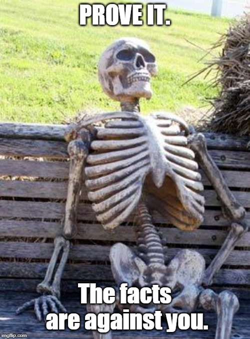 Waiting Skeleton Meme | PROVE IT. The facts are against you. | image tagged in memes,waiting skeleton | made w/ Imgflip meme maker