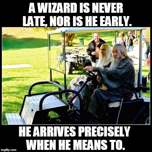 WIZARDS LOTR | A WIZARD IS NEVER LATE, NOR IS HE EARLY. HE ARRIVES PRECISELY WHEN HE MEANS TO. | image tagged in lotr,gandalf,saruman,lord of the rings | made w/ Imgflip meme maker