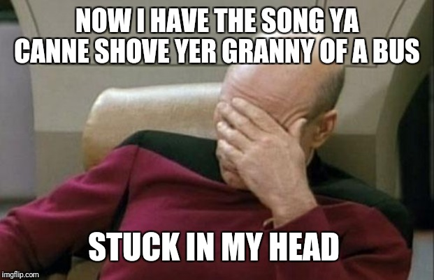 Captain Picard Facepalm Meme | NOW I HAVE THE SONG YA CANNE SHOVE YER GRANNY OF A BUS STUCK IN MY HEAD | image tagged in memes,captain picard facepalm | made w/ Imgflip meme maker