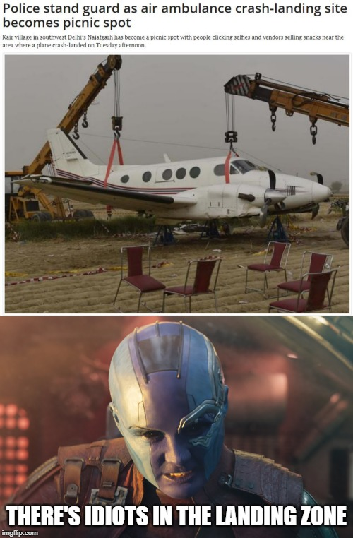 There's an Idiot in the Landing Zone |  THERE'S IDIOTS IN THE LANDING ZONE | image tagged in avengers endgame,nebula,marvel,airplane,landing | made w/ Imgflip meme maker
