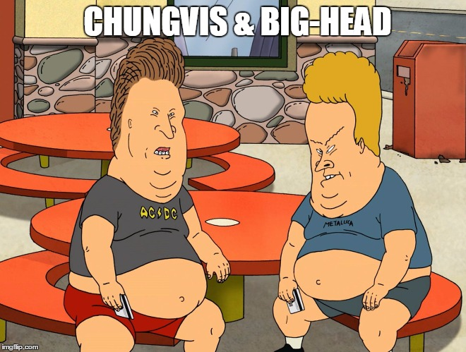 Chungvis & Big-Head | CHUNGVIS & BIG-HEAD | image tagged in big chungus,beavis and butthead,overweight | made w/ Imgflip meme maker