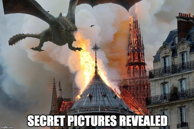 The real truth about the Notre Dame fire is out. | SECRET PICTURES REVEALED | image tagged in satire,dragons,notre dame,fire | made w/ Imgflip meme maker