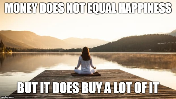 MONEY DOES NOT EQUAL HAPPINESS BUT IT DOES BUY A LOT OF IT | made w/ Imgflip meme maker