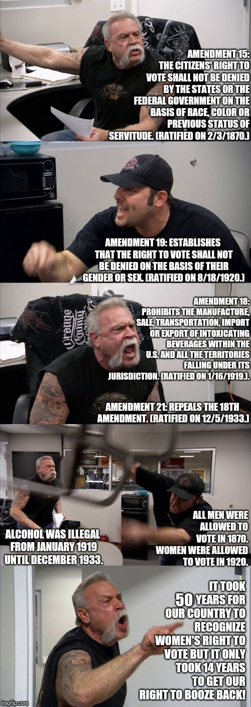 P. R. I. O. R. I. T. I. E. S. | 50 | image tagged in american chopper argument,memes,priorities,vote,alcohol,we're all doomed | made w/ Imgflip meme maker