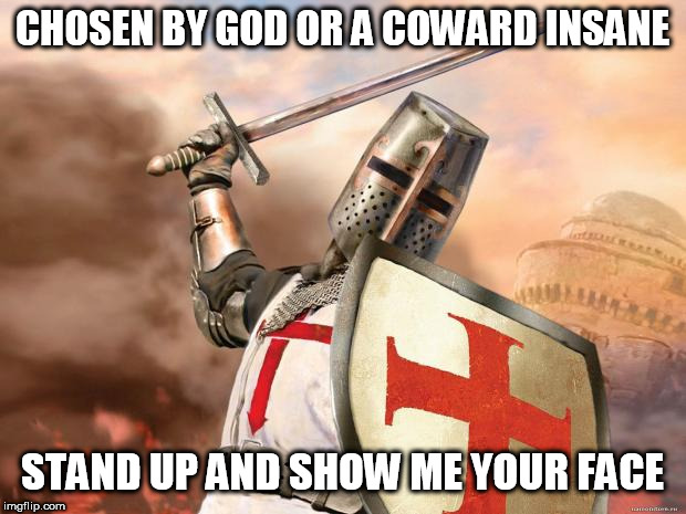 Coward Insane | CHOSEN BY GOD OR A COWARD INSANE STAND UP AND SHOW ME YOUR FACE | image tagged in crusader,in the name of god,sabaton,religious terrorism,god,coward insane | made w/ Imgflip meme maker