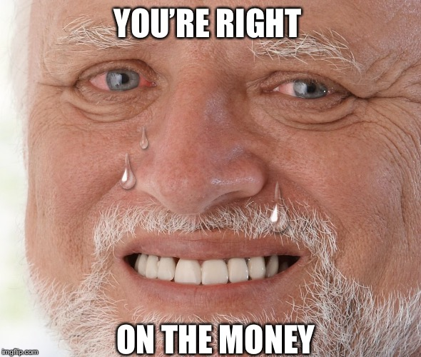 Hide the Pain Harold | YOU'RE RIGHT ON THE MONEY | image tagged in hide the pain harold | made w/ Imgflip meme maker