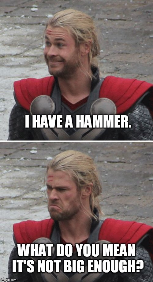 You take the little one. | I HAVE A HAMMER. WHAT DO YOU MEAN IT'S NOT BIG ENOUGH? | image tagged in thor happy then sad | made w/ Imgflip meme maker