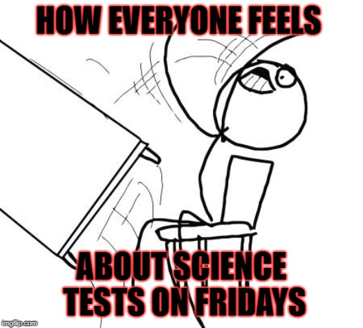 Table Flip Guy Meme | HOW EVERYONE FEELS ABOUT SCIENCE TESTS ON FRIDAYS | image tagged in memes,table flip guy | made w/ Imgflip meme maker