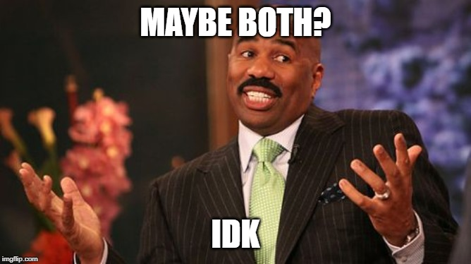 Steve Harvey Meme | MAYBE BOTH? IDK | image tagged in memes,steve harvey | made w/ Imgflip meme maker