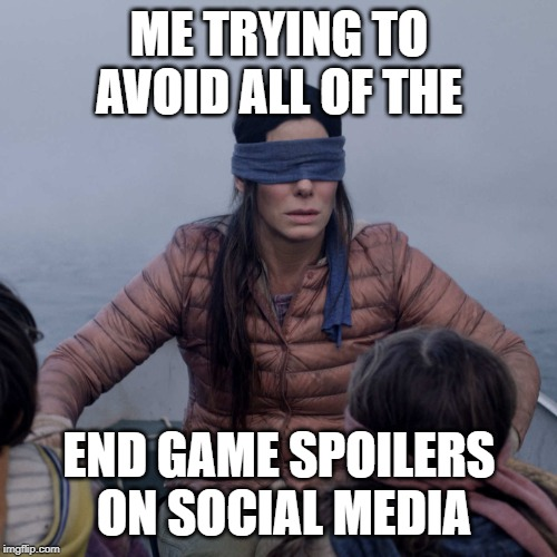 Bird Box | ME TRYING TO AVOID ALL OF THE END GAME SPOILERS ON SOCIAL MEDIA | image tagged in memes,bird box | made w/ Imgflip meme maker