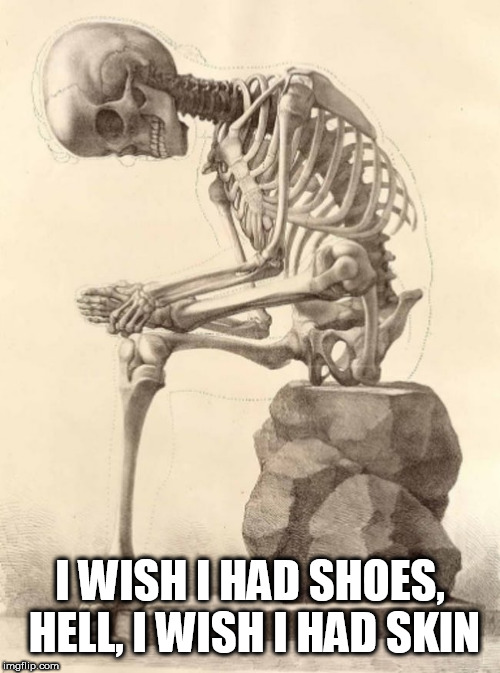 Bones |  I WISH I HAD SHOES, HELL, I WISH I HAD SKIN | image tagged in bones | made w/ Imgflip meme maker