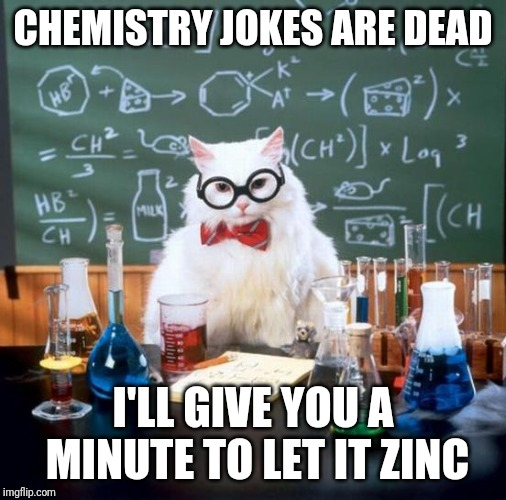 Chemistry Cat | CHEMISTRY JOKES ARE DEAD I'LL GIVE YOU A MINUTE TO LET IT ZINC | image tagged in memes,chemistry cat | made w/ Imgflip meme maker