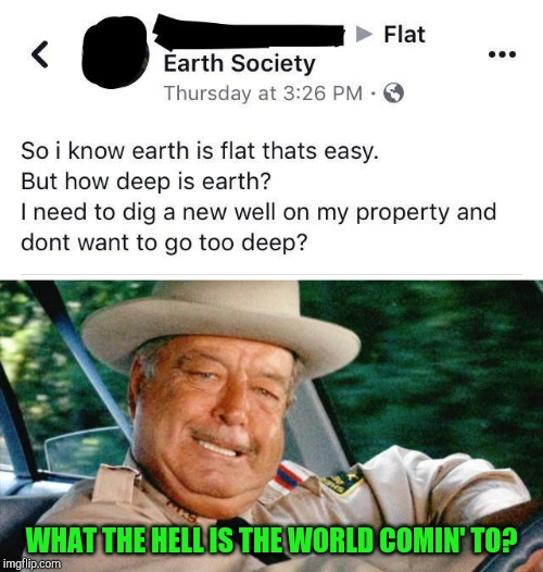 I knew flat-earther's are dumb, but this is the very bottom of the well | WHAT THE HELL IS THE WORLD COMIN' TO? | image tagged in buford t justice,flat earth,well,pipe_picasso | made w/ Imgflip meme maker