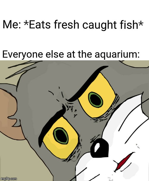 Unsettled Tom | Me: *Eats fresh caught fish* Everyone else at the aquarium: | image tagged in memes,unsettled tom | made w/ Imgflip meme maker