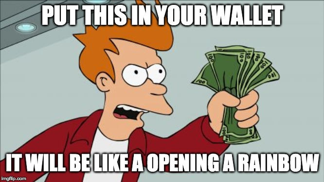 Shut Up And Take My Money Fry Meme | PUT THIS IN YOUR WALLET IT WILL BE LIKE A OPENING A RAINBOW | image tagged in memes,shut up and take my money fry | made w/ Imgflip meme maker