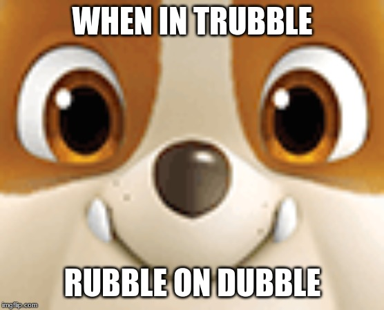 Rubble Dubble Trubble | WHEN IN TRUBBLE RUBBLE ON DUBBLE | image tagged in paw patrol | made w/ Imgflip meme maker