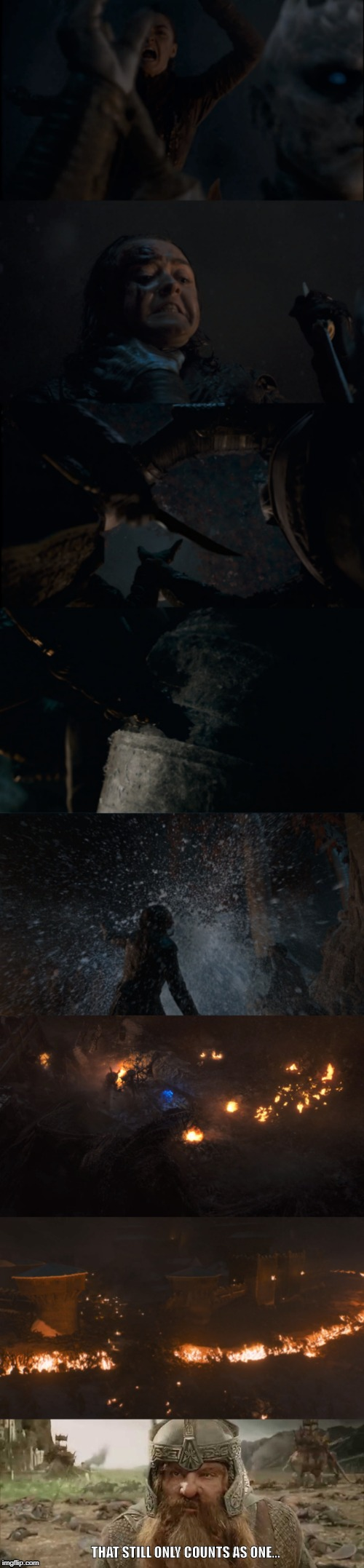 GOT It still only counts as one... | THAT STILL ONLY COUNTS AS ONE... | image tagged in game of thrones,gimli,lotr,arya stark,game of thrones arya,got | made w/ Imgflip meme maker