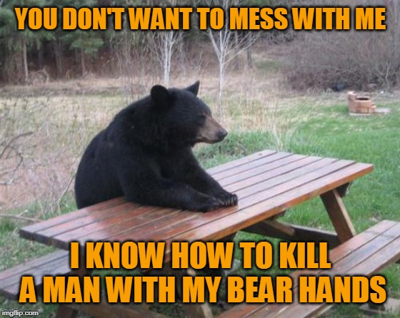 Paws to Reflect (Repost Your Own Memes Week, April 16 and onwards)! | YOU DON'T WANT TO MESS WITH ME I KNOW HOW TO KILL A MAN WITH MY BEAR HANDS | image tagged in memes,bad luck bear,the rock driving,bad pun,repost your own memes week,classic meme | made w/ Imgflip meme maker