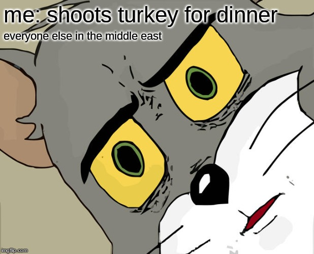 Unsettled Tom Meme | me: shoots turkey for dinner everyone else in the middle east | image tagged in memes,unsettled tom | made w/ Imgflip meme maker