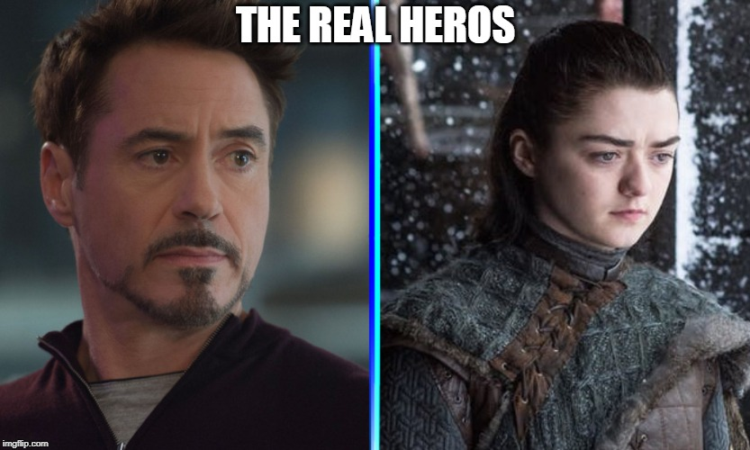 The ones who saved your weekend |  THE REAL HEROS | image tagged in spoiler alert,tony stark,arya stark,game of thrones,avengers endgame,spoilers | made w/ Imgflip meme maker