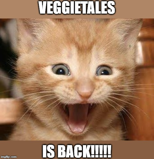 I may be way too old to celebrate, but I'm also too excited to care! |  VEGGIETALES; IS BACK!!!!! | image tagged in memes,excited cat,veggietales,reboot | made w/ Imgflip meme maker
