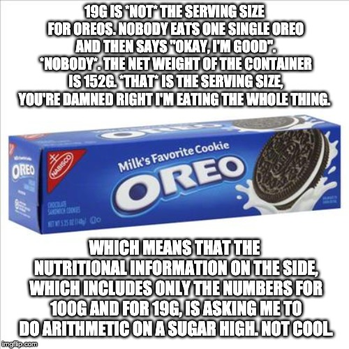 """Serving size"" is a lie! 