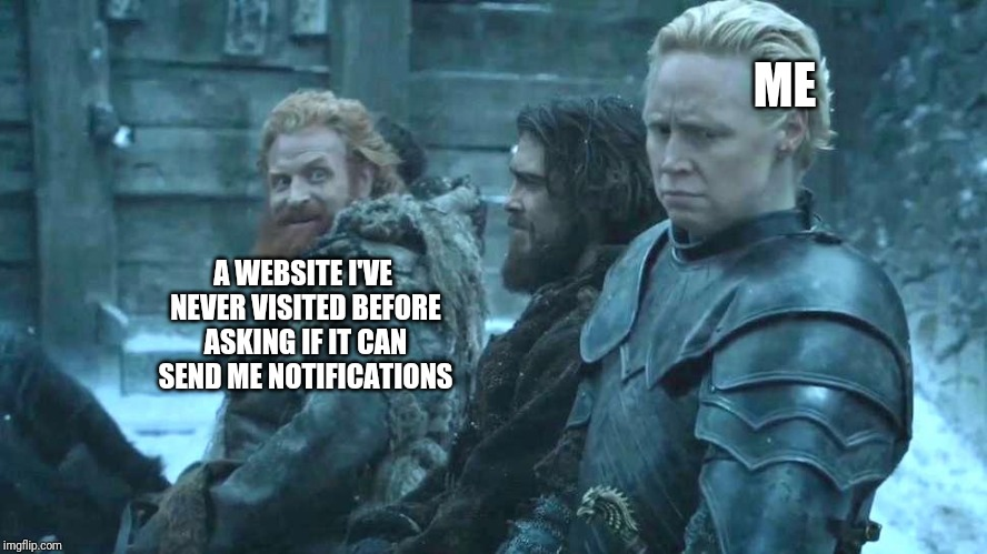 game of thrones brienne tormund | ME A WEBSITE I'VE NEVER VISITED BEFORE ASKING IF IT CAN SEND ME NOTIFICATIONS | image tagged in game of thrones brienne tormund | made w/ Imgflip meme maker