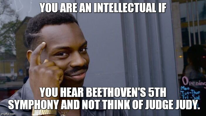 Roll Safe Think About It | YOU ARE AN INTELLECTUAL IF YOU HEAR BEETHOVEN'S 5TH SYMPHONY AND NOT THINK OF JUDGE JUDY. | image tagged in memes,roll safe think about it,beethoven,classical music,music,smart | made w/ Imgflip meme maker