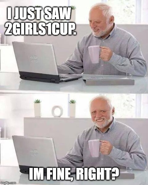 Hide the Pain Harold Meme | I JUST SAW 2GIRLS1CUP. IM FINE, RIGHT? | image tagged in memes,hide the pain harold | made w/ Imgflip meme maker