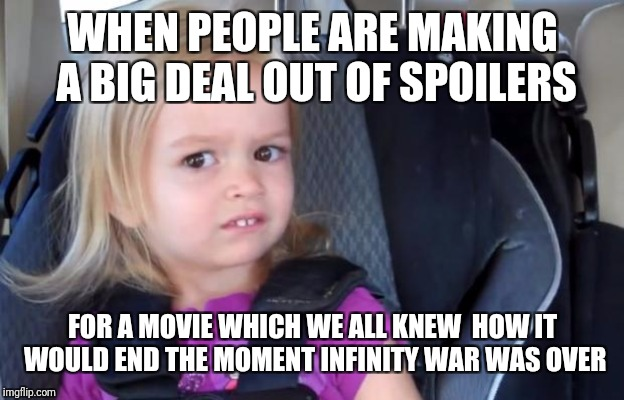 The Avengers team up,  make sacrifices, defeat Thanos in a final battle, and reverse the snap. WHO COULD HAVE IMAGINED IT? |  WHEN PEOPLE ARE MAKING A BIG DEAL OUT OF SPOILERS; FOR A MOVIE WHICH WE ALL KNEW  HOW IT WOULD END THE MOMENT INFINITY WAR WAS OVER | image tagged in side eyeing chloe,memes,avengers,spoilers,endgame,infinity war | made w/ Imgflip meme maker