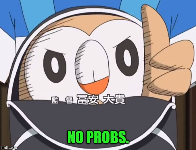Rowlet Approved | NO PROBS. | image tagged in rowlet approved | made w/ Imgflip meme maker